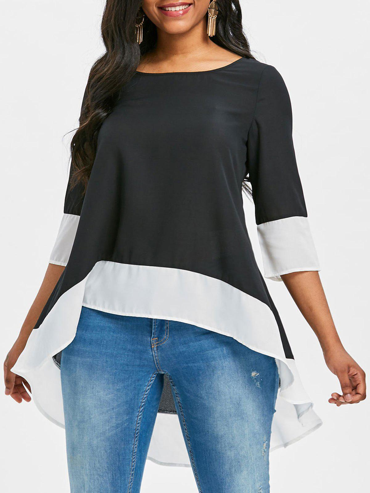 Contrast Trim High Low Blouse - BLACK XL