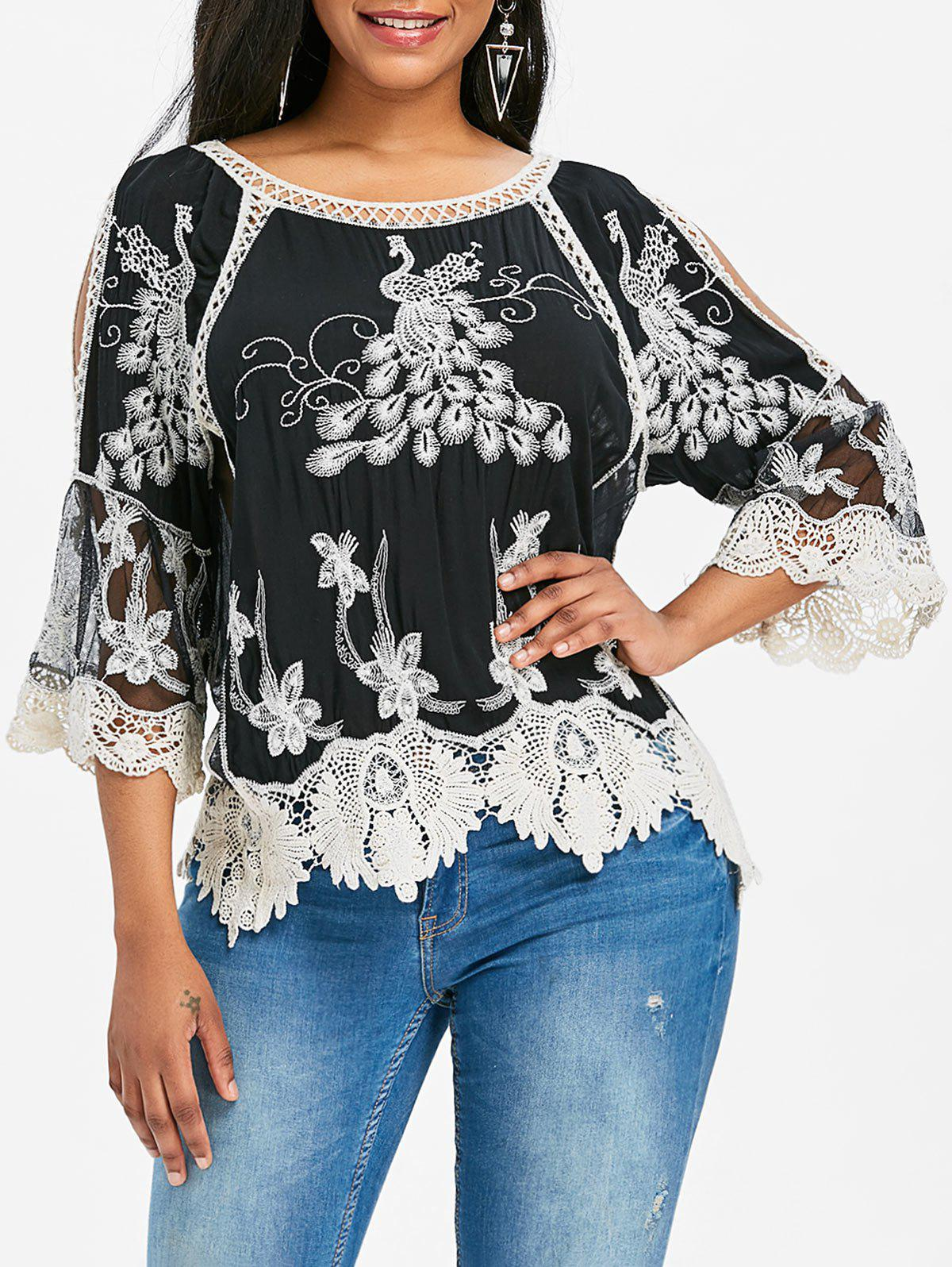 Raglan Sleeves Lace Embroidered Blouse - BLACK ONE SIZE