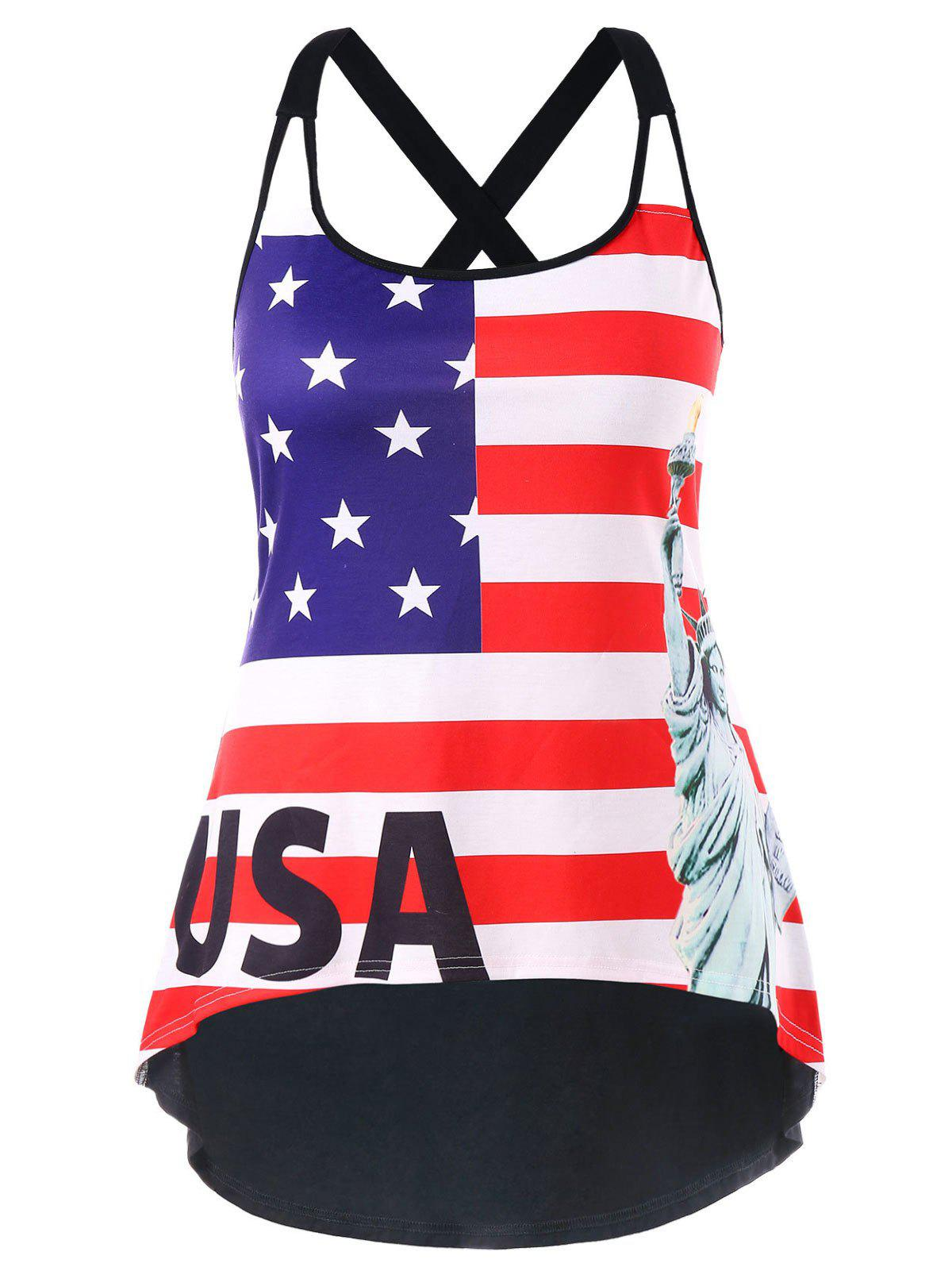 Plus Size American Flag High Low Hem Tank Top - multicolor 3X