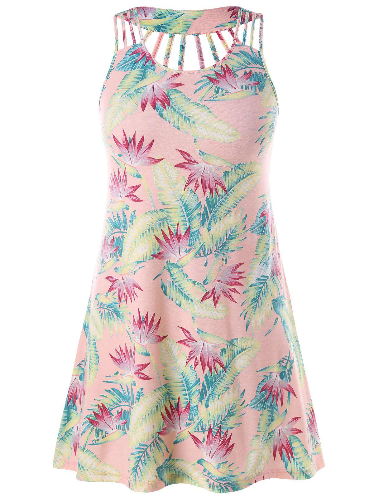Cutout Plus Size Leaf Print Sundress - PINK BUBBLEGUM 2X
