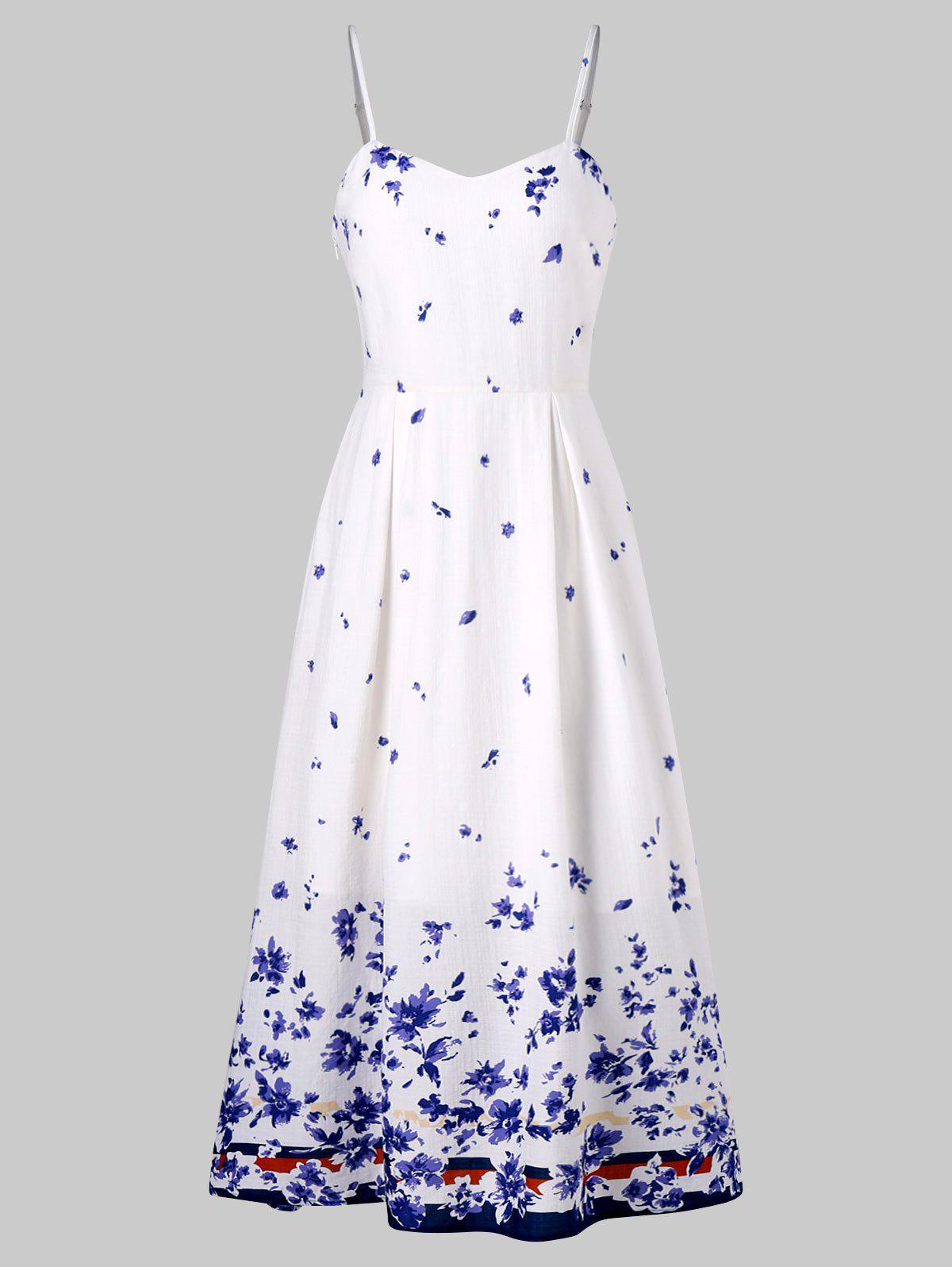 Flower Printed Midi Sundress - WHITE L