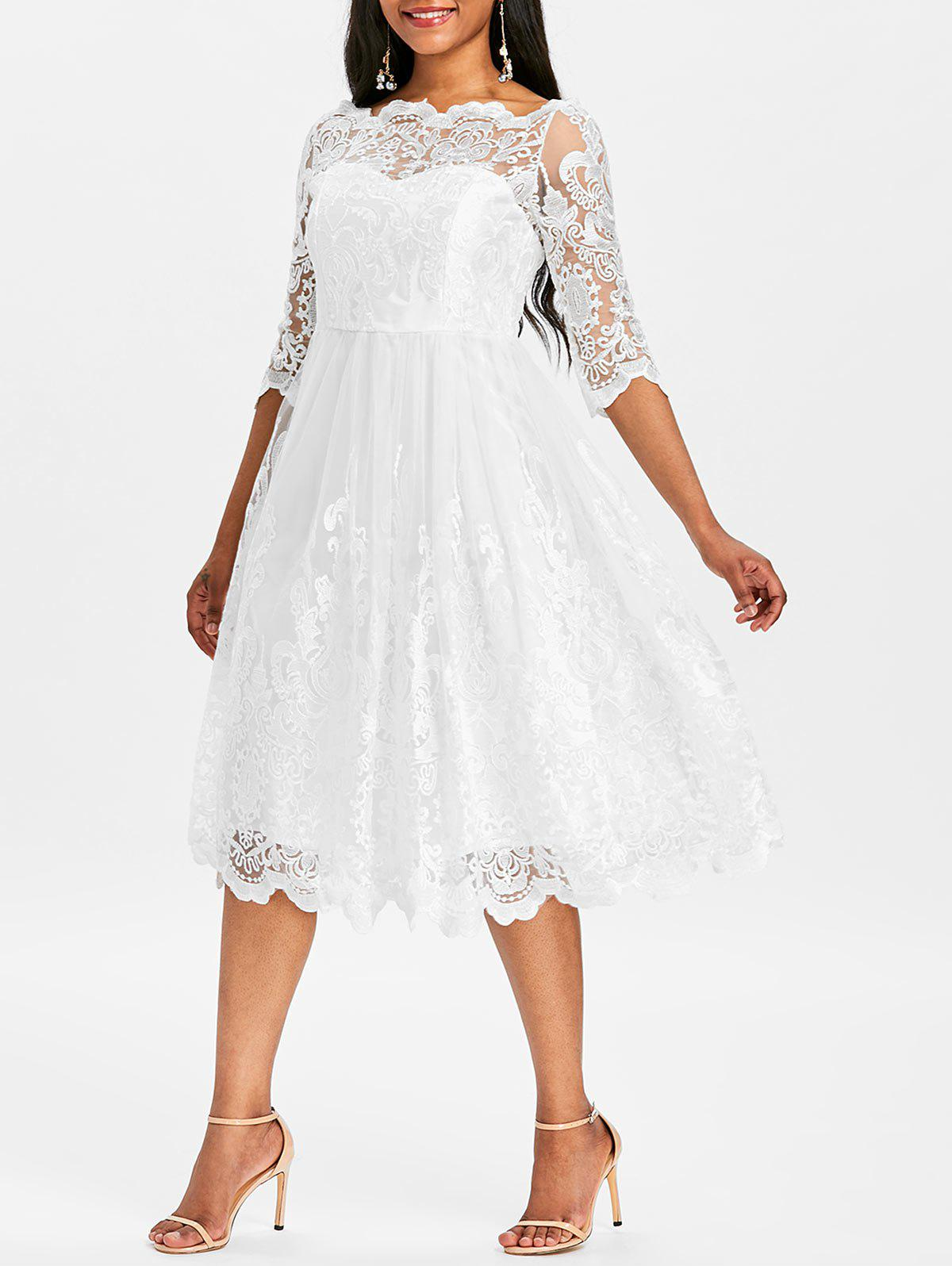 Boat Neckline Wedding Lace Dress - WHITE M