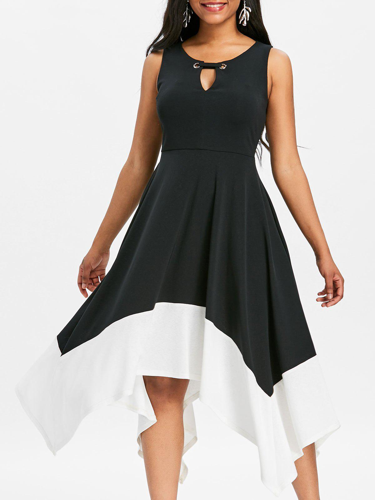 Keyhole Two Tone Midi Handkerchief Dress - BLACK 2XL