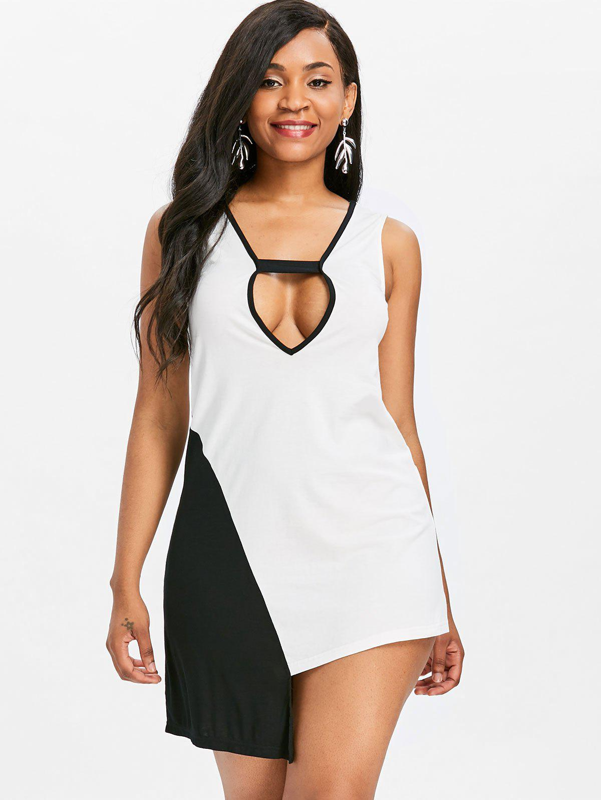 Asymmetrical Plunge Two Tone Tank Top - WHITE L