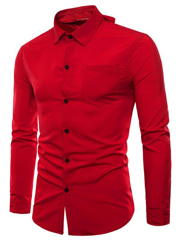 Reversible Style Button Up Turn Down Collar Shirt - CHESTNUT RED 2XL