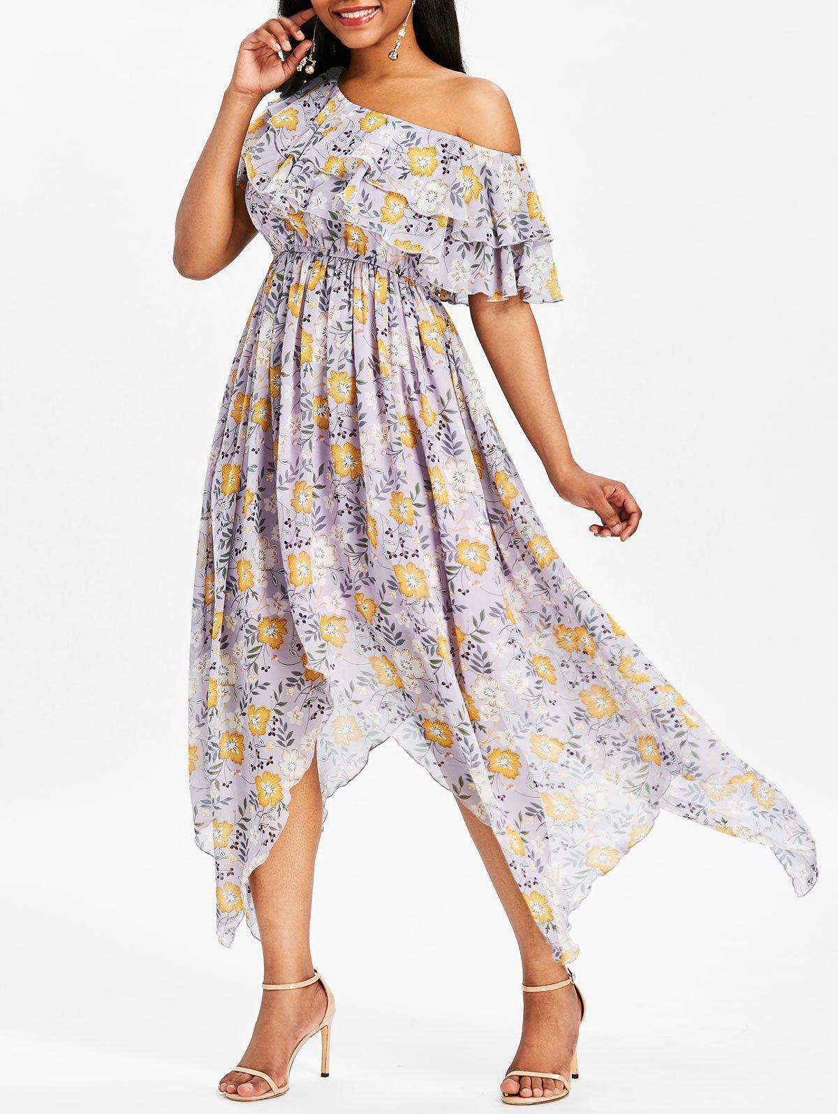 Print Ruffle Skew Collar Maxi Dress