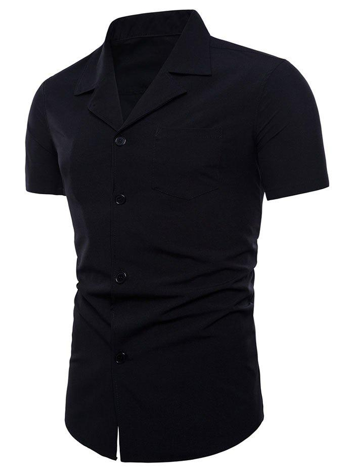 Camp Collar Shirt with Pocket - BLACK L