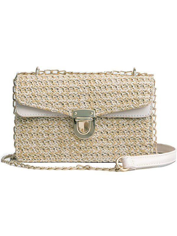 Vintage Straw Color Striped Crossbody Chain Bag - BEIGE