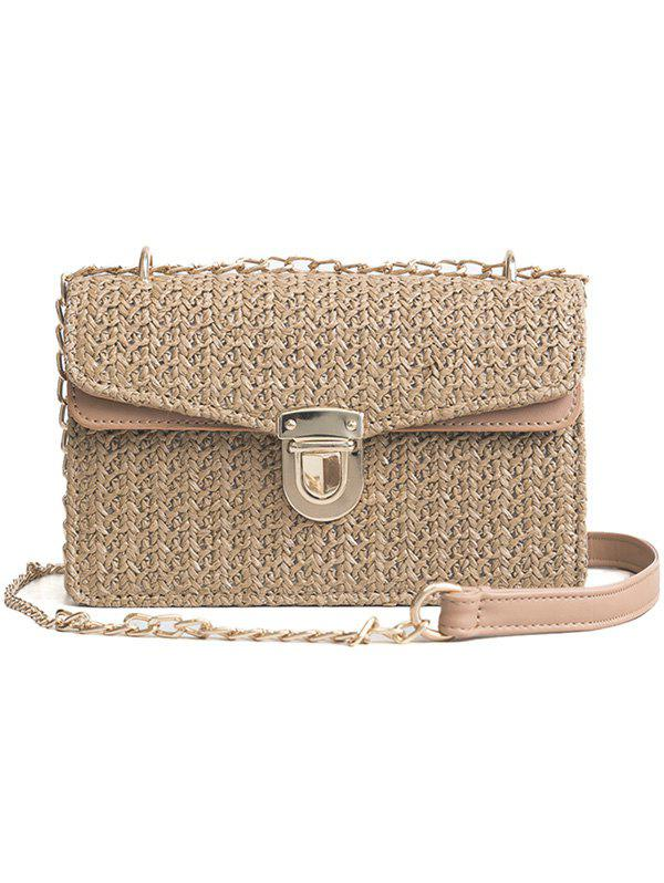 Retro Straw Color Striped Crossbody Chain Bag - 002