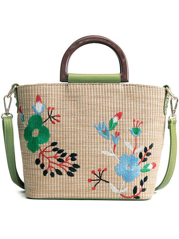 Vintage Floral Embroidery Tote Bag With Handle - AVOCADO GREEN