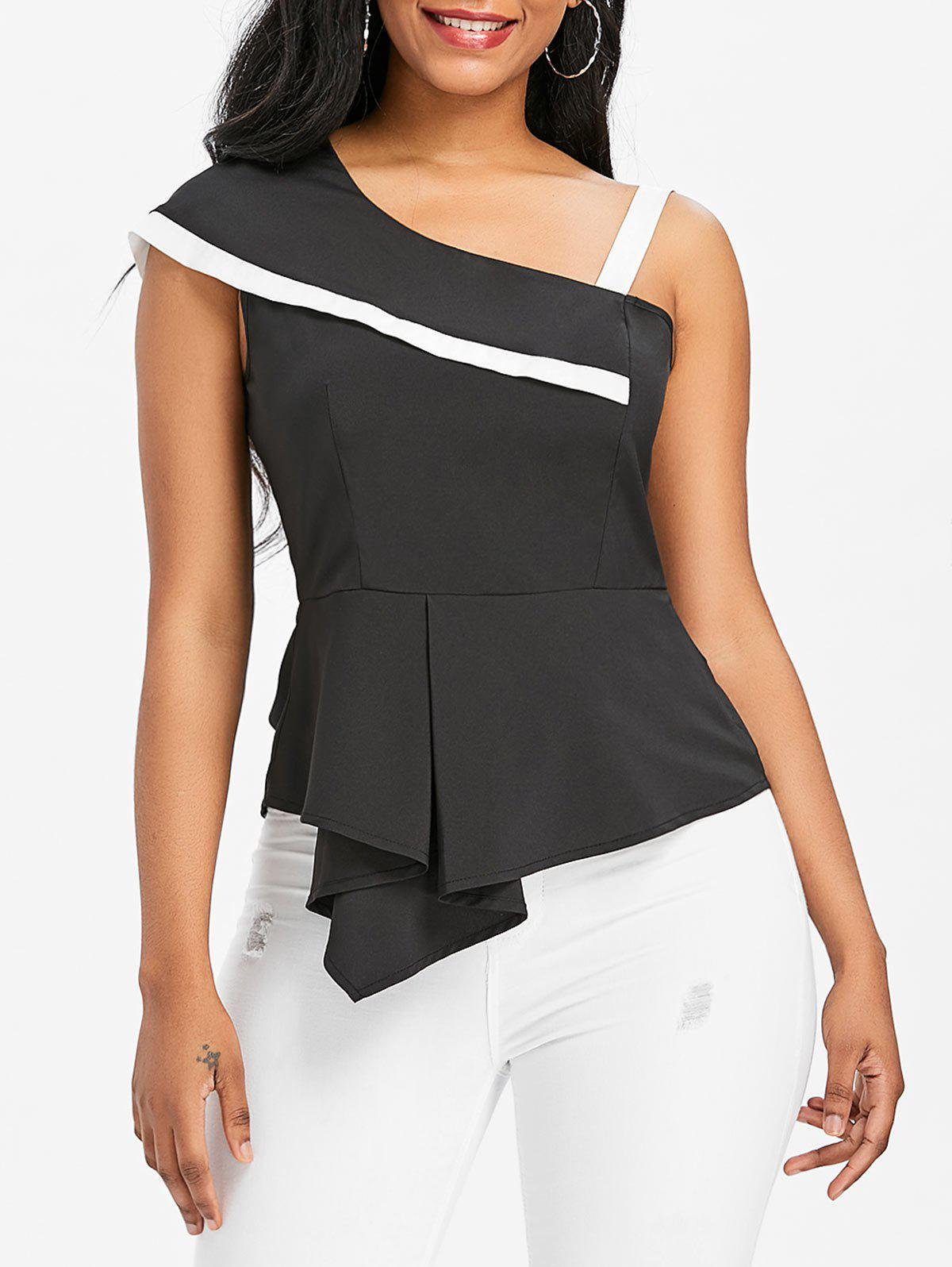 Asymmetrical Flounce Skew Neck Blouse - BLACK M