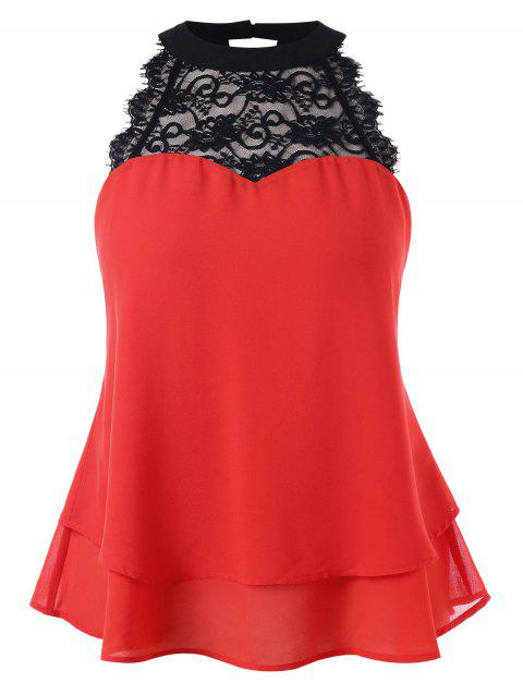 Plus Size Lace Trim Sleeveless Blouse - RED L