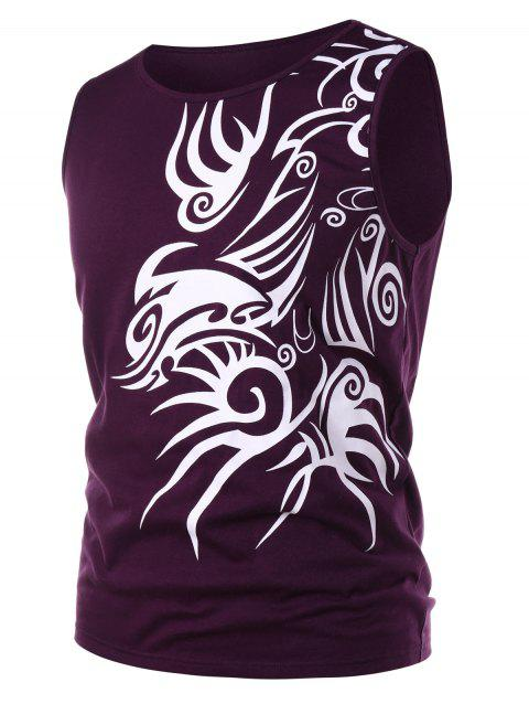 Ethnic Print Tank Top - PURPLE AMETHYST XL