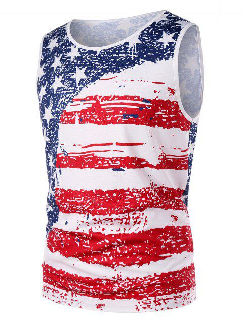 American Flag Patriotic Tank Top - WHITE L