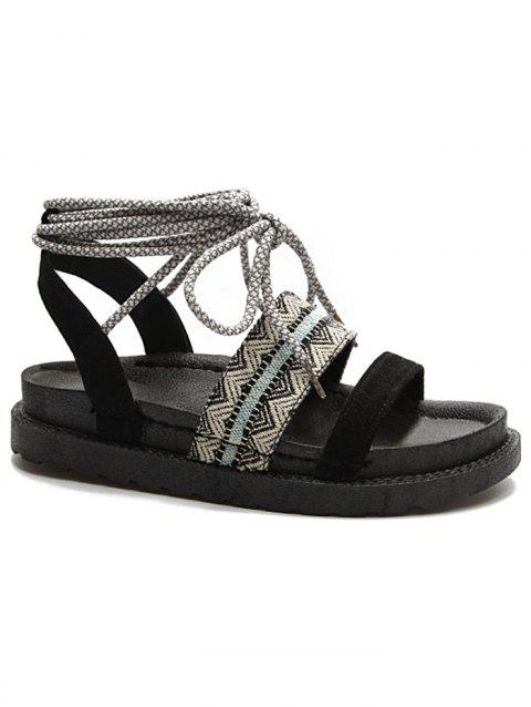 Lace Up Crisscross Ankle Strap Sandals - BLACK 38