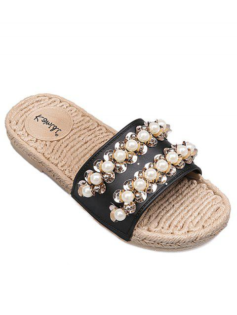 Crystal Espadrille Faux Pearl Slide Sandals - BLACK 36