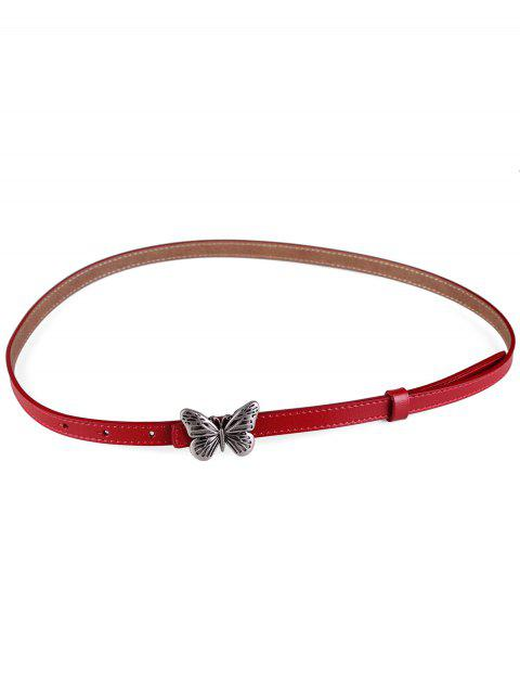 Metal Butterfly Buckle Artificial Leather Skinny Belt - RED