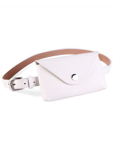 Vintage Fanny Pack Artificial Leather Waist Belt - WHITE