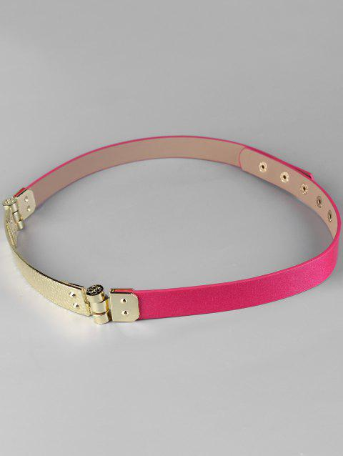 Unique Glitter Metal Bar Artificial Leather Skinny Belt - ROSE RED