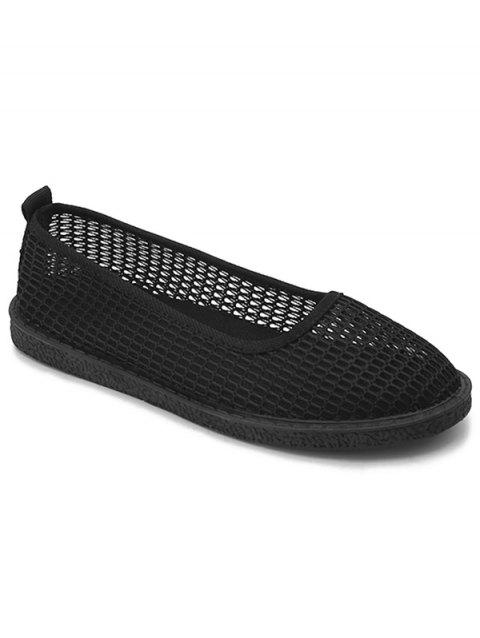 Mesh Slip On Casual Flat Heels - BLACK 41