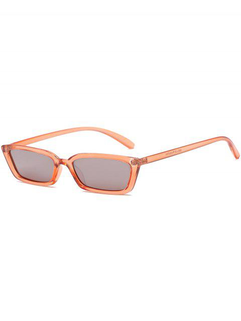 Vintage Rectangle Shaped Flat Lens Sunglasses - ORANGE