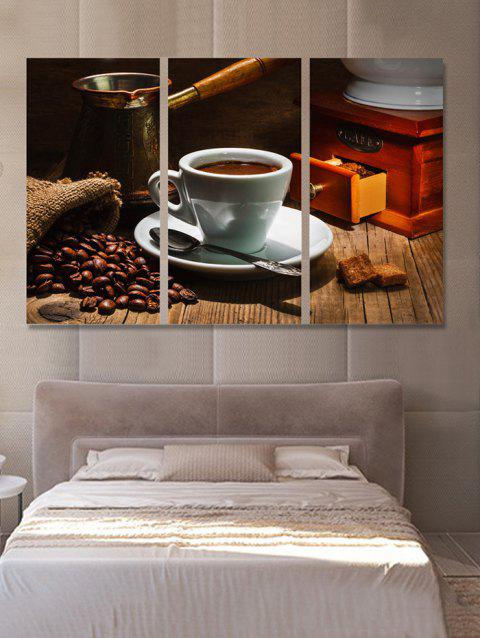 Coffee Making Print Unframed Split Canvas Paintings - multicolor 3PCS:12*24 INCH( NO FRAME )