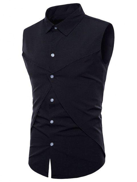Solid Color Faux Two Piece Sleeveless Shirt - BLACK L