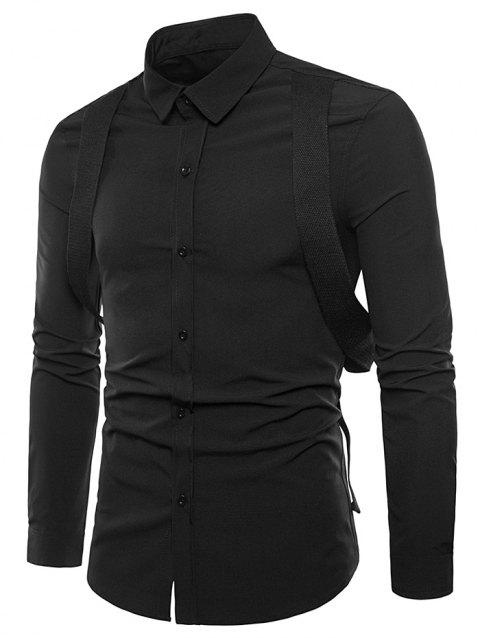 Casual Shirt with Gallus Decoration - BLACK L