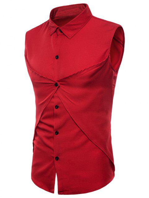 Solid Color Faux Two Piece Sleeveless Shirt - RED XL