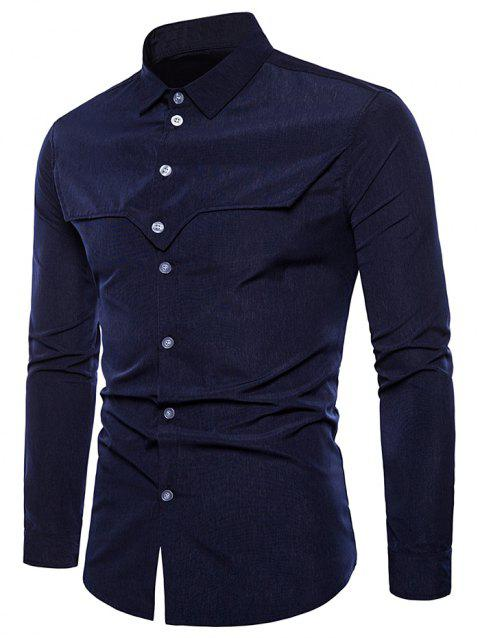 Button Up Tailored Cloth Decorated Shirt - NAVY BLUE 2XL