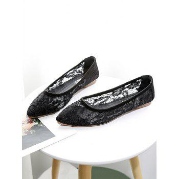 Flat Heel Lace Pointed Toe Flats - BLACK 39