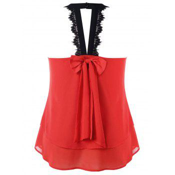 Plus Size Lace Trim Sleeveless Blouse - RED 1X