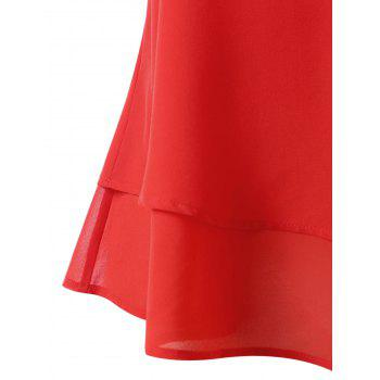 Plus Size Lace Trim Sleeveless Blouse - RED 3X