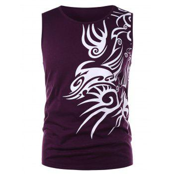 Ethnic Print Tank Top - PURPLE AMETHYST L