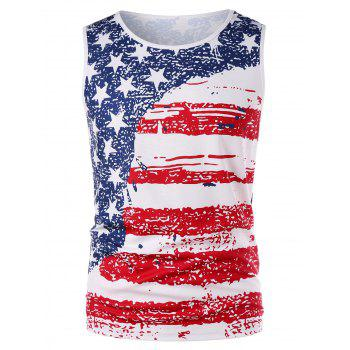 American Flag Patriotic Tank Top - WHITE XL