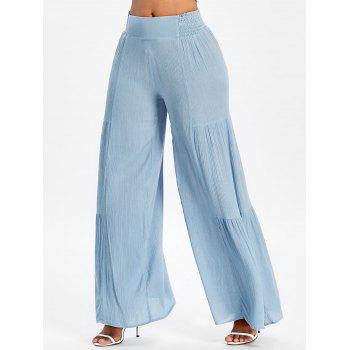 Bowknot Back Smocked High Waisted Wide Leg Pants - BLUE ANGEL M