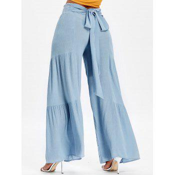 Bowknot Back Smocked High Waisted Wide Leg Pants - BLUE ANGEL L