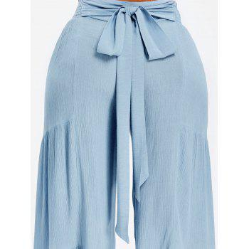 Bowknot Back Smocked High Waisted Wide Leg Pants - BLUE ANGEL XL