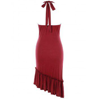 Halter Lace Insert Flounce Backless Party Dress - RED L