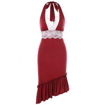 Halter Lace Insert Flounce Backless Party Dress - RED 2XL
