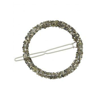 Round Shaped Rhinestones Decorations Hair Clip - ARMY BROWN