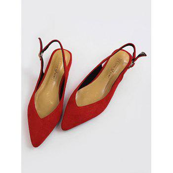 Pointed Toe Slingbacks Low Heels - FIRE ENGINE RED 37