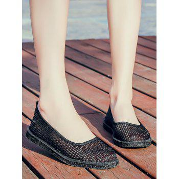 Mesh Slip On Casual Flat Heels - BLACK 39