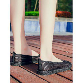 Mesh Slip On Casual Flat Heels - BLACK 40