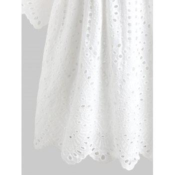 Casual Eyelet Dress - WHITE L