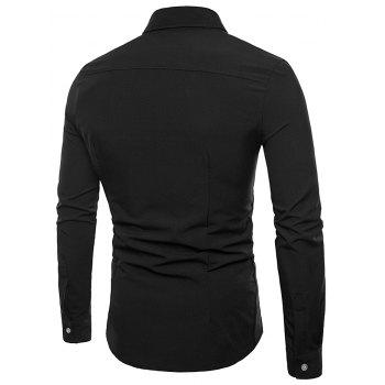 Button Up Tailored Cloth Decorated Shirt - BLACK M