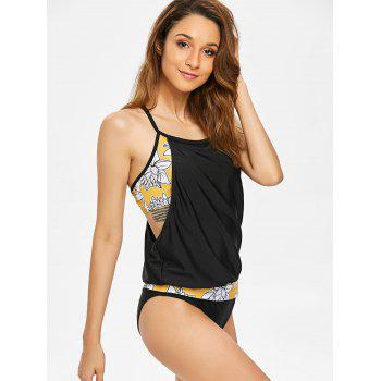 Layered Style Flower Blouson Tankini - BLACK XL