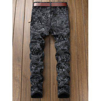 Zip Fly Print Fit Jeans - BLACK 32