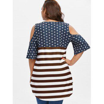 Plus Size American Flag High Low T-shirt - RED WINE 5X