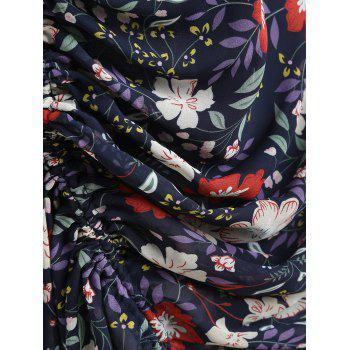 V-neck Print Ruched Drawstring Dress - multicolor 2XL